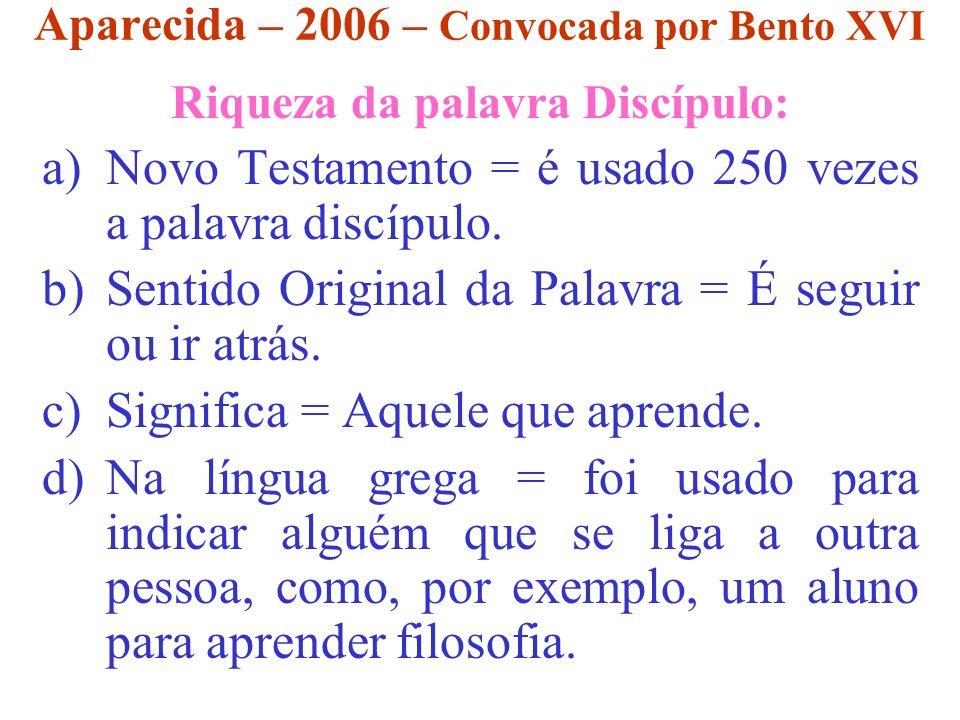Aparecida – 2006 – Convocada por Bento XVI Riqueza da palavra Discípulo: a)Novo Testamento = é usado 250 vezes a palavra discípulo. b)Sentido Original