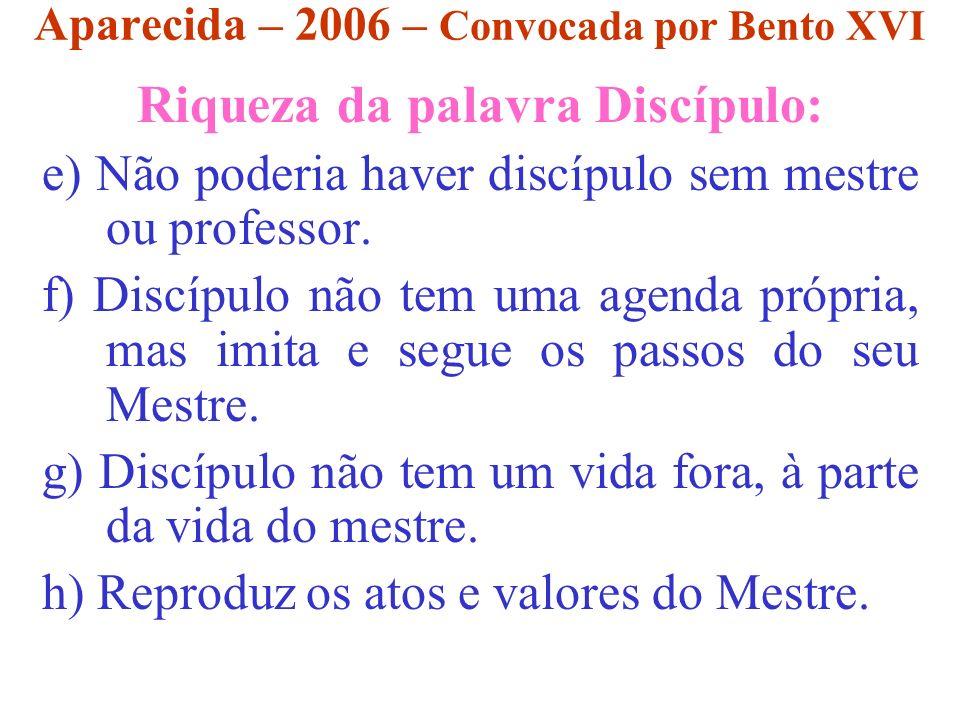 Aparecida – 2006 – Convocada por Bento XVI Riqueza da palavra Discípulo: e) Não poderia haver discípulo sem mestre ou professor. f) Discípulo não tem