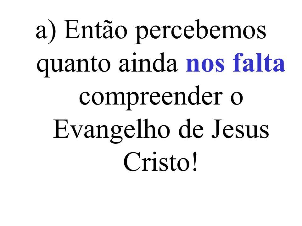 a) Então percebemos quanto ainda nos falta compreender o Evangelho de Jesus Cristo!