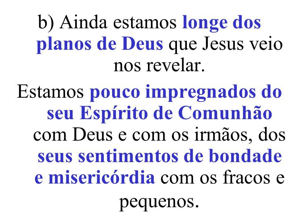b) Ainda estamos longe dos planos de Deus que Jesus veio nos revelar. Estamos pouco impregnados do seu Espírito de Comunhão com Deus e com os irmãos,