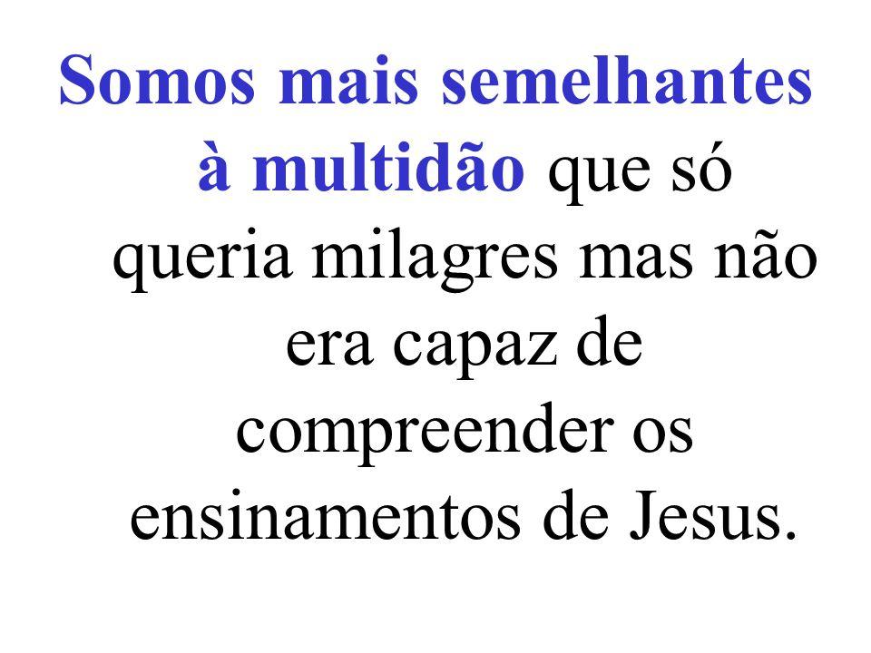 Somos mais semelhantes à multidão que só queria milagres mas não era capaz de compreender os ensinamentos de Jesus.