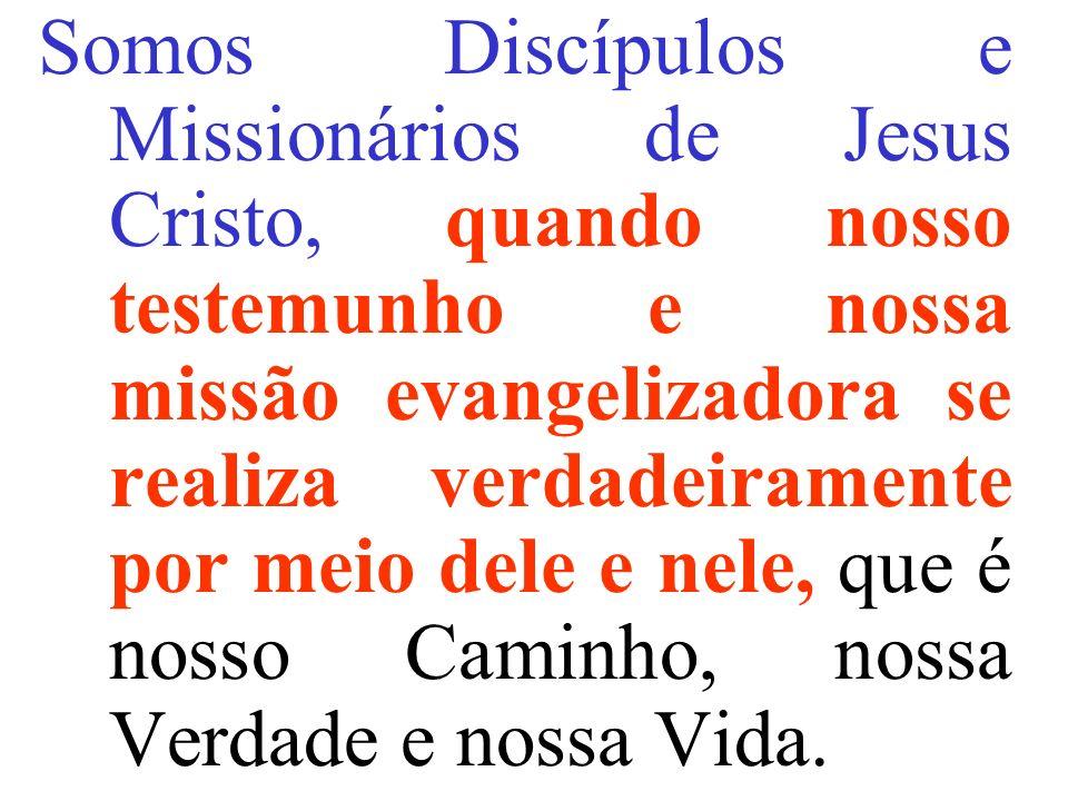 Somos Discípulos e Missionários de Jesus Cristo, quando nosso testemunho e nossa missão evangelizadora se realiza verdadeiramente por meio dele e nele