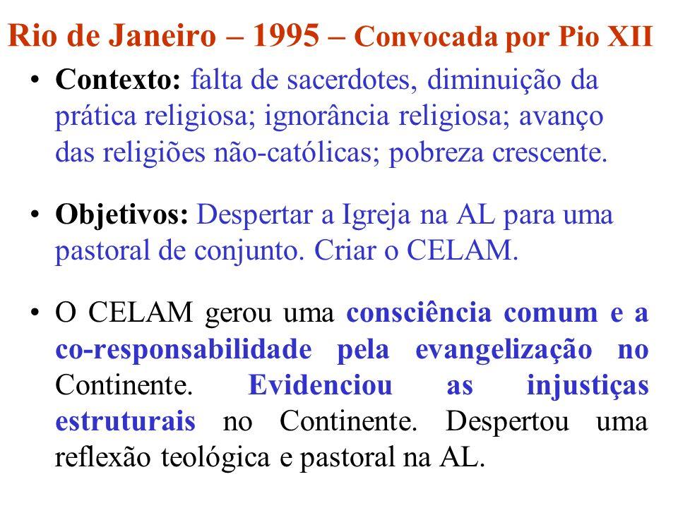 Medellín – 1968 – Convocada por Paulo VI Tema: A Igreja na atual transformação da AL à luz do Concílio Contexto: empobrecimento; injustiças estruturais; governos ditatoriais; divórcio entre fé e a vida.