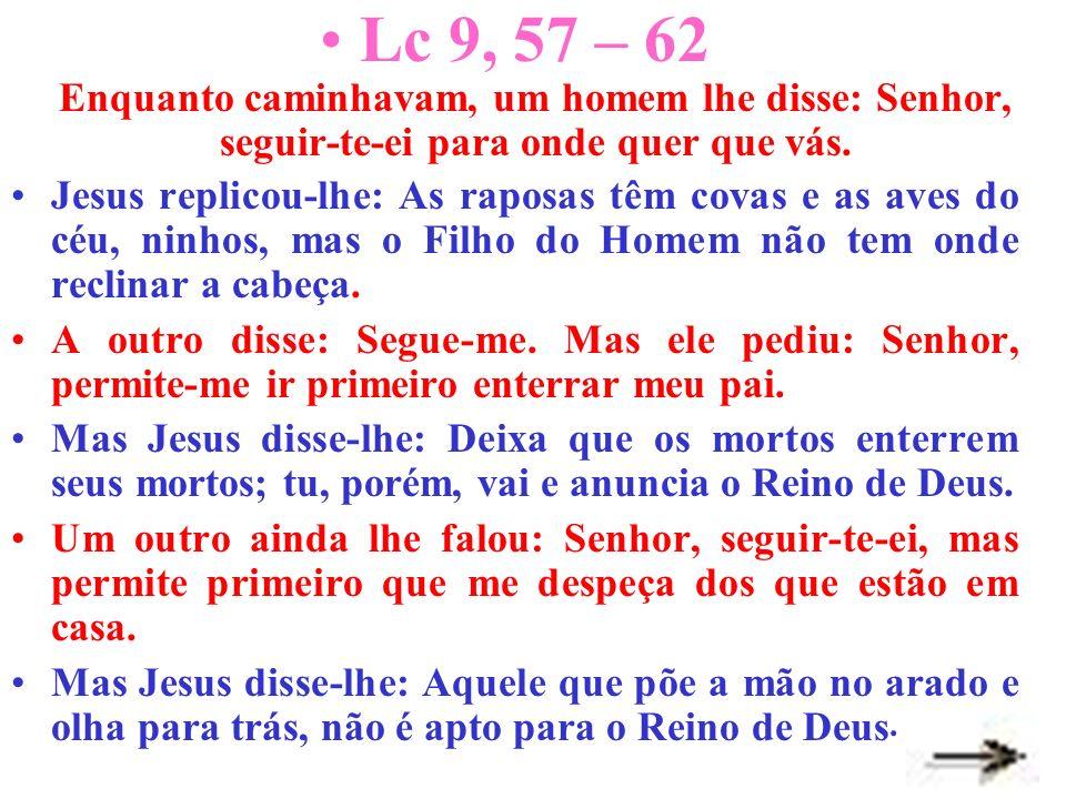 Lc 9, 57 – 62 Enquanto caminhavam, um homem lhe disse: Senhor, seguir-te-ei para onde quer que vás. Jesus replicou-lhe: As raposas têm covas e as aves