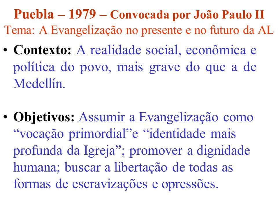 Puebla – 1979 – Convocada por João Paulo II Tema: A Evangelização no presente e no futuro da AL Contexto: A realidade social, econômica e política do