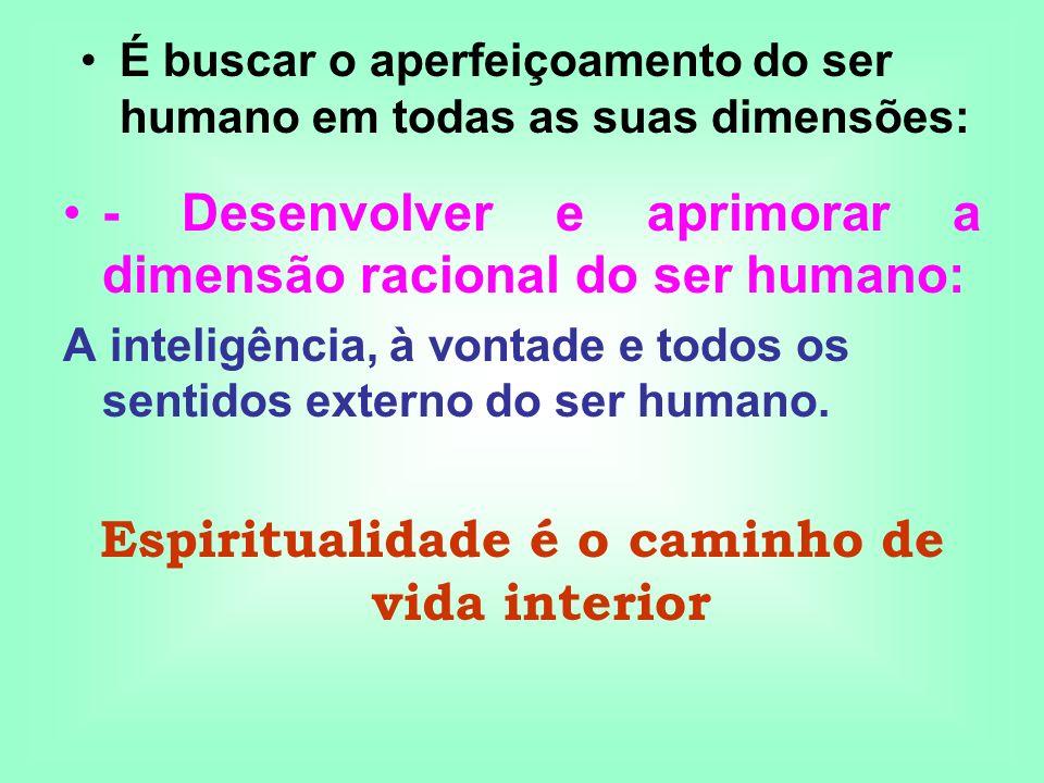 - Desenvolver e aprimorar a dimensão racional do ser humano: A inteligência, à vontade e todos os sentidos externo do ser humano. Espiritualidade é o