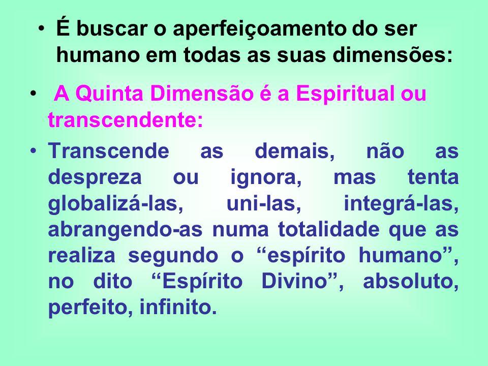 A Quinta Dimensão é a Espiritual ou transcendente: Transcende as demais, não as despreza ou ignora, mas tenta globalizá-las, uni-las, integrá-las, abr