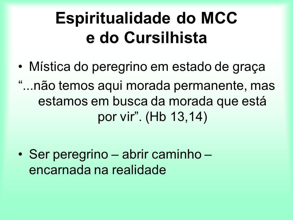 Espiritualidade do MCC e do Cursilhista Mística do peregrino em estado de graça...não temos aqui morada permanente, mas estamos em busca da morada que