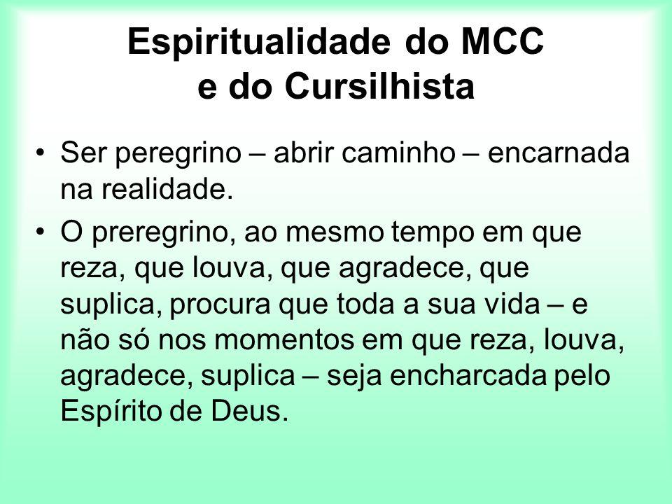 Espiritualidade do MCC e do Cursilhista Ser peregrino – abrir caminho – encarnada na realidade. O preregrino, ao mesmo tempo em que reza, que louva, q