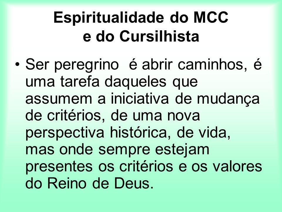 Espiritualidade do MCC e do Cursilhista Ser peregrino é abrir caminhos, é uma tarefa daqueles que assumem a iniciativa de mudança de critérios, de uma