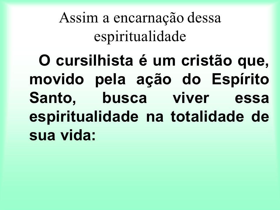 Assim a encarnação dessa espiritualidade O cursilhista é um cristão que, movido pela ação do Espírito Santo, busca viver essa espiritualidade na total