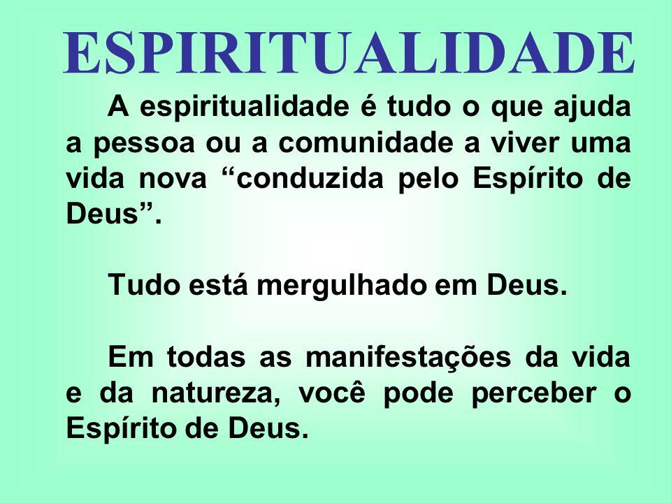 A espiritualidade é tudo o que ajuda a pessoa ou a comunidade a viver uma vida nova conduzida pelo Espírito de Deus. Tudo está mergulhado em Deus. Em