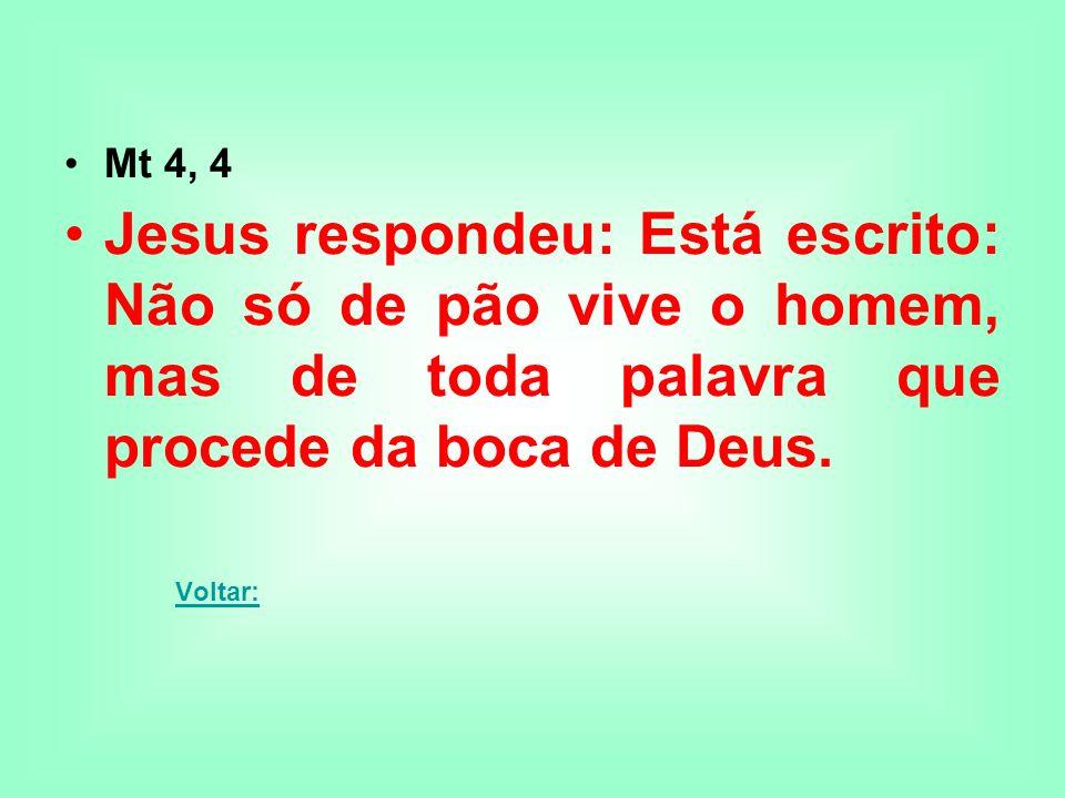 Mt 4, 4 Jesus respondeu: Está escrito: Não só de pão vive o homem, mas de toda palavra que procede da boca de Deus. Voltar: