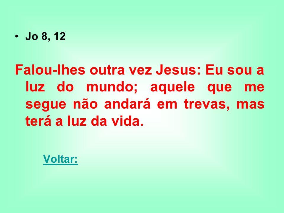 Jo 8, 12 Falou-lhes outra vez Jesus: Eu sou a luz do mundo; aquele que me segue não andará em trevas, mas terá a luz da vida. Voltar: