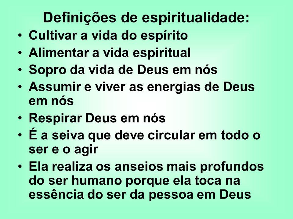 Definições de espiritualidade: Cultivar a vida do espírito Alimentar a vida espiritual Sopro da vida de Deus em nós Assumir e viver as energias de Deu
