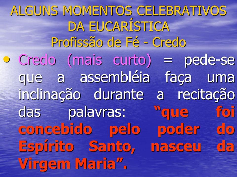 ALGUNS MOMENTOS CELEBRATIVOS DA EUCARÍSTICA Profissão de Fé - Credo Credo (mais curto) = pede-se que a assembléia faça uma inclinação durante a recita