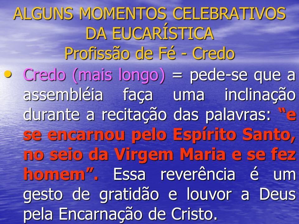 ALGUNS MOMENTOS CELEBRATIVOS DA EUCARÍSTICA Profissão de Fé - Credo Credo (mais longo) = pede-se que a assembléia faça uma inclinação durante a recita