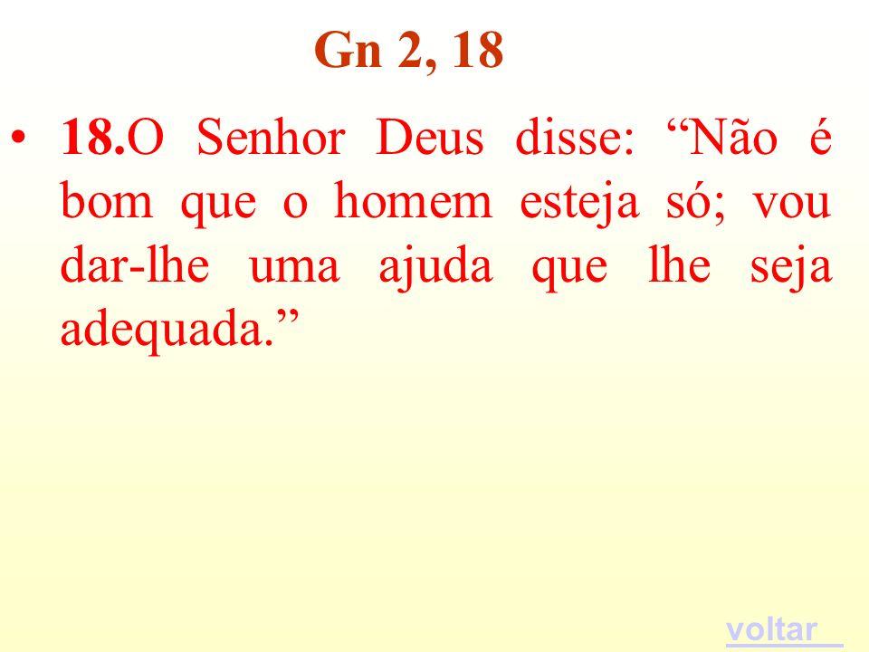 18.O Senhor Deus disse: Não é bom que o homem esteja só; vou dar-lhe uma ajuda que lhe seja adequada. Gn 2, 18 voltar