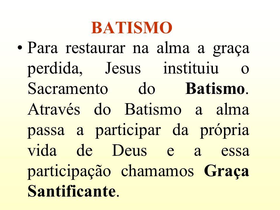 BATISMO Para restaurar na alma a graça perdida, Jesus instituiu o Sacramento do Batismo. Através do Batismo a alma passa a participar da própria vida