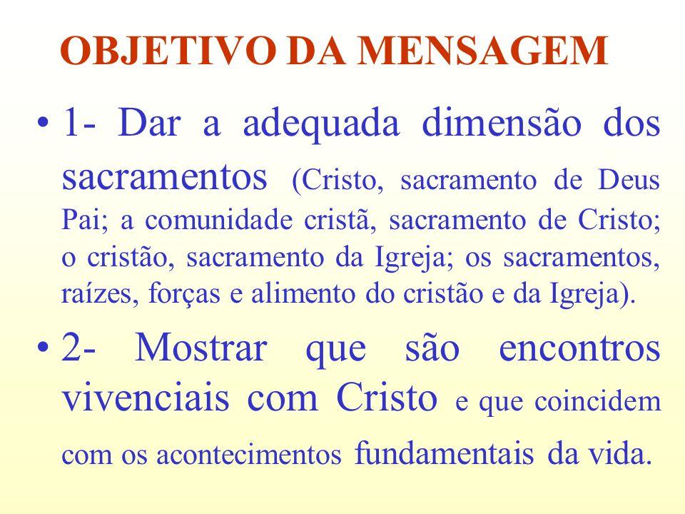 1- Dar a adequada dimensão dos sacramentos (Cristo, sacramento de Deus Pai; a comunidade cristã, sacramento de Cristo; o cristão, sacramento da Igreja