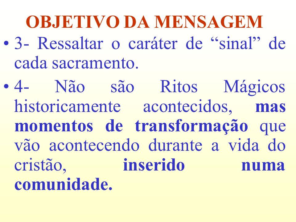 3- Ressaltar o caráter de sinal de cada sacramento. 4- Não são Ritos Mágicos historicamente acontecidos, mas momentos de transformação que vão acontec