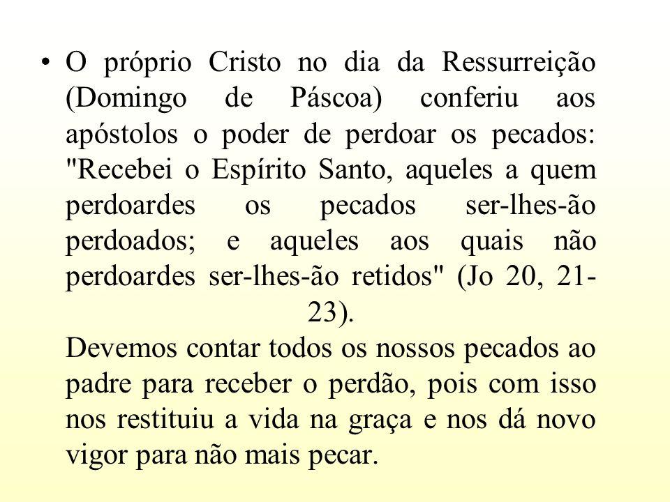 O próprio Cristo no dia da Ressurreição (Domingo de Páscoa) conferiu aos apóstolos o poder de perdoar os pecados: