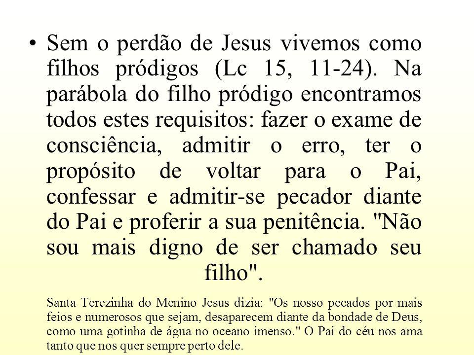 Sem o perdão de Jesus vivemos como filhos pródigos (Lc 15, 11-24). Na parábola do filho pródigo encontramos todos estes requisitos: fazer o exame de c
