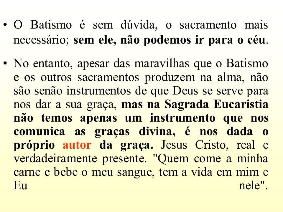O Batismo é sem dúvida, o sacramento mais necessário; sem ele, não podemos ir para o céu. No entanto, apesar das maravilhas que o Batismo e os outros