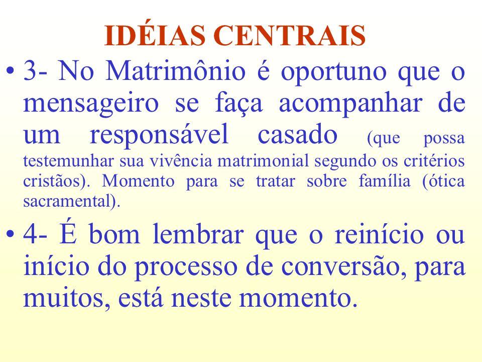 3- No Matrimônio é oportuno que o mensageiro se faça acompanhar de um responsável casado (que possa testemunhar sua vivência matrimonial segundo os cr