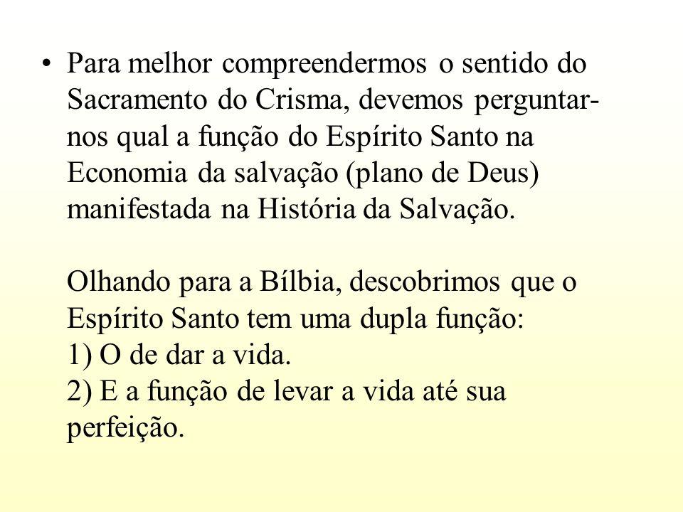 Para melhor compreendermos o sentido do Sacramento do Crisma, devemos perguntar- nos qual a função do Espírito Santo na Economia da salvação (plano de
