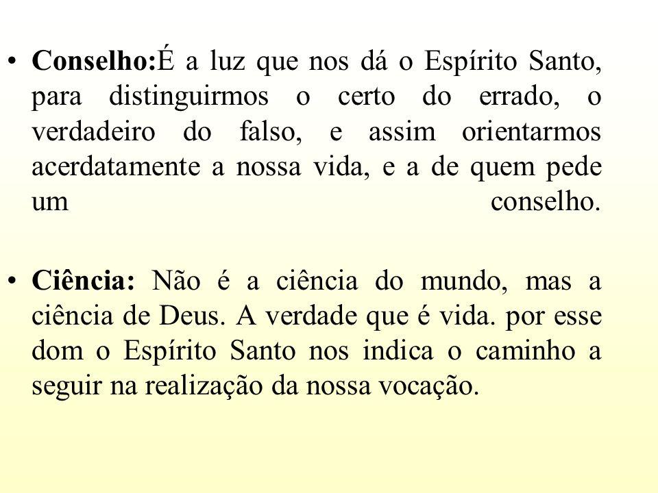 Conselho:É a luz que nos dá o Espírito Santo, para distinguirmos o certo do errado, o verdadeiro do falso, e assim orientarmos acerdatamente a nossa v