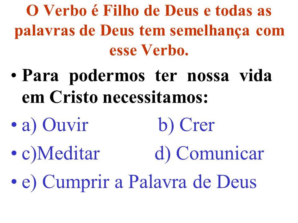 O Verbo é Filho de Deus e todas as palavras de Deus tem semelhança com esse Verbo.