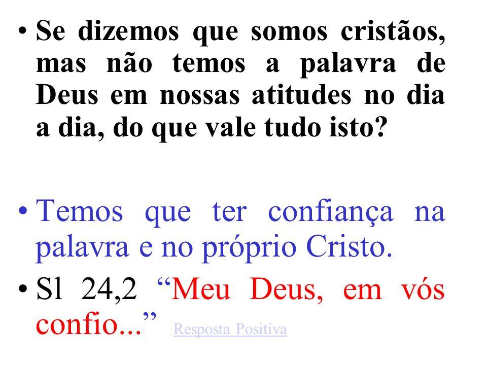 Se dizemos que somos cristãos, mas não temos a palavra de Deus em nossas atitudes no dia a dia, do que vale tudo isto.