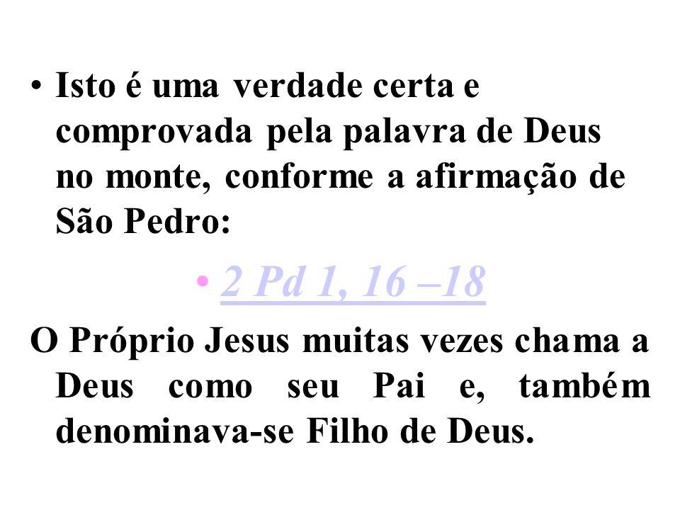 Isto é uma verdade certa e comprovada pela palavra de Deus no monte, conforme a afirmação de São Pedro: 2 Pd 1, 16 –18 O Próprio Jesus muitas vezes chama a Deus como seu Pai e, também denominava-se Filho de Deus.