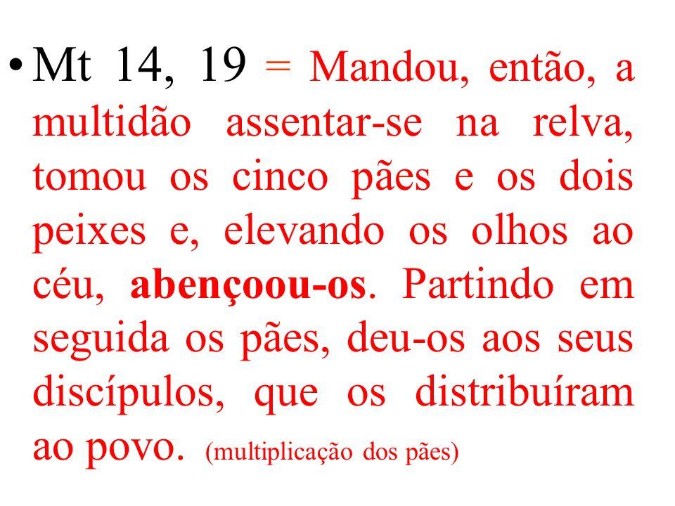 Mt 14, 19 = Mandou, então, a multidão assentar-se na relva, tomou os cinco pães e os dois peixes e, elevando os olhos ao céu, abençoou-os.