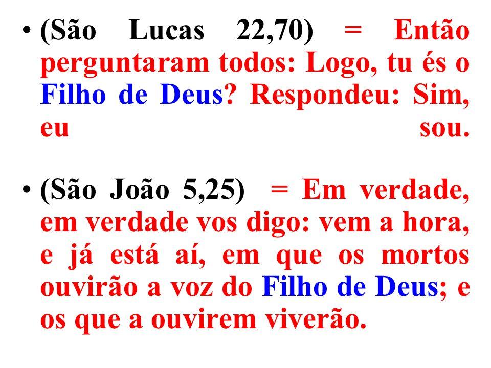 (São Lucas 22,70) = Então perguntaram todos: Logo, tu és o Filho de Deus.