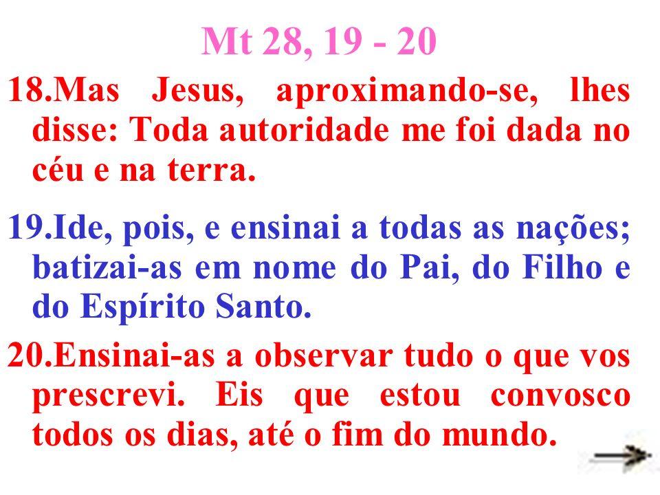 Mt 28, 19 - 20 18.Mas Jesus, aproximando-se, lhes disse: Toda autoridade me foi dada no céu e na terra.
