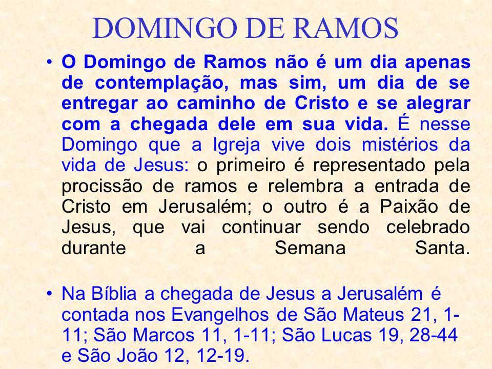 O Domingo de Ramos não é um dia apenas de contemplação, mas sim, um dia de se entregar ao caminho de Cristo e se alegrar com a chegada dele em sua vid