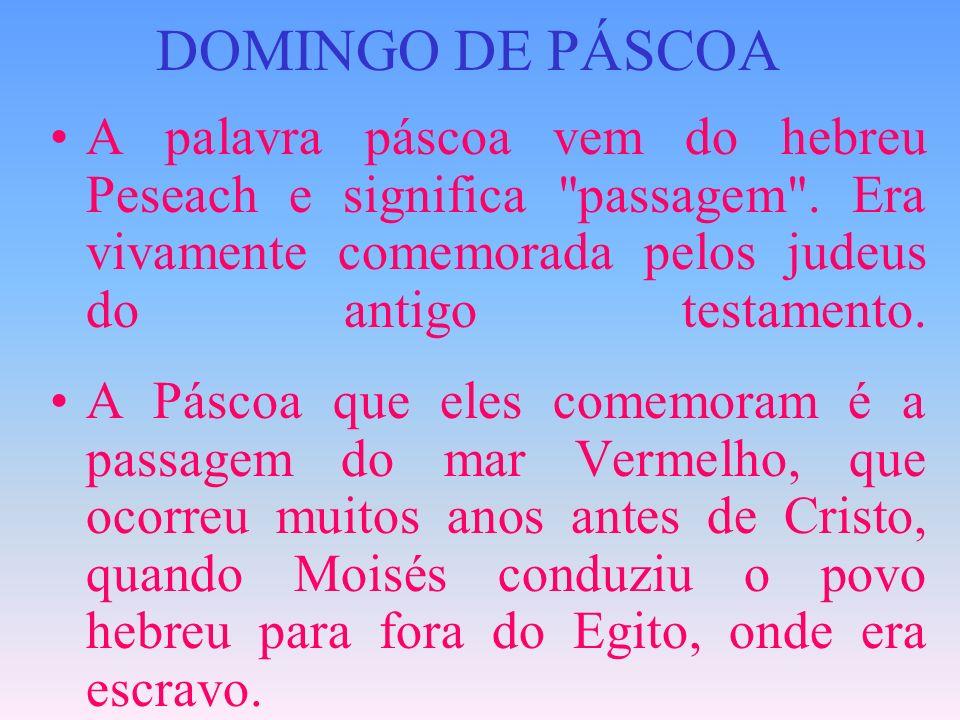 DOMINGO DE PÁSCOA A palavra páscoa vem do hebreu Peseach e significa