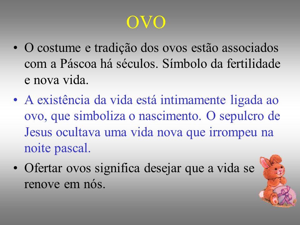 OVO O costume e tradição dos ovos estão associados com a Páscoa há séculos. Símbolo da fertilidade e nova vida. A existência da vida está intimamente