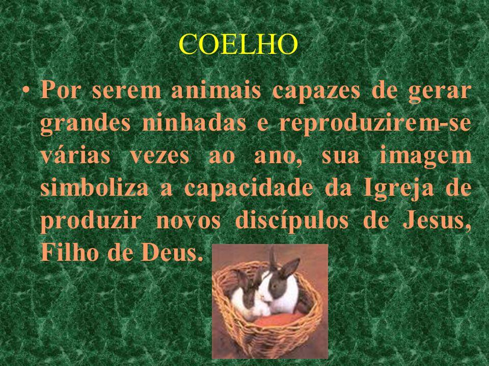 COELHO Por serem animais capazes de gerar grandes ninhadas e reproduzirem-se várias vezes ao ano, sua imagem simboliza a capacidade da Igreja de produ