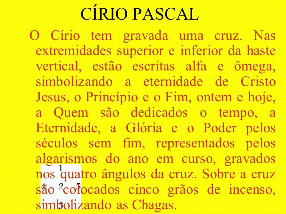 CÍRIO PASCAL O Círio tem gravada uma cruz. Nas extremidades superior e inferior da haste vertical, estão escritas alfa e ômega, simbolizando a eternid