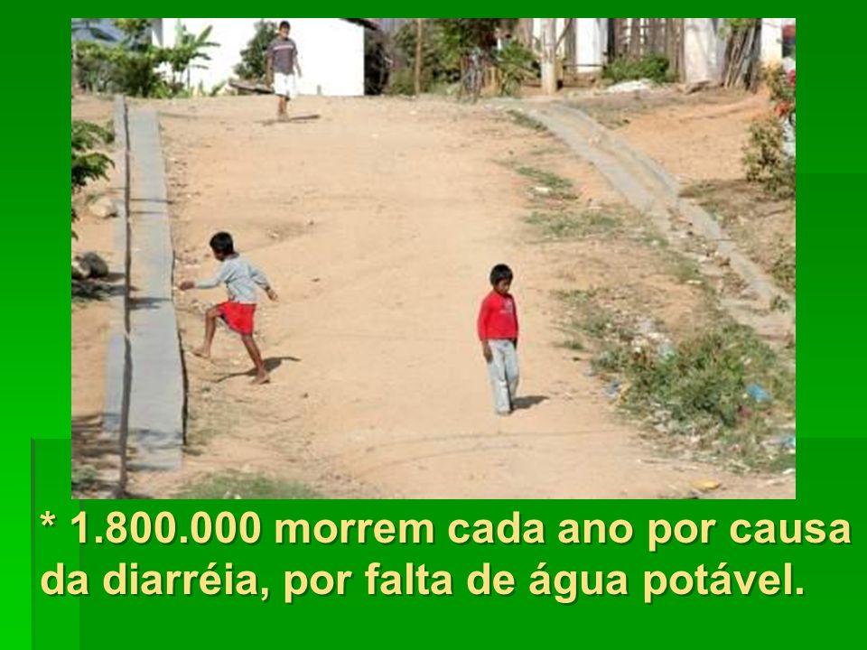 * 1.800.000 morrem cada ano por causa da diarréia, por falta de água potável.