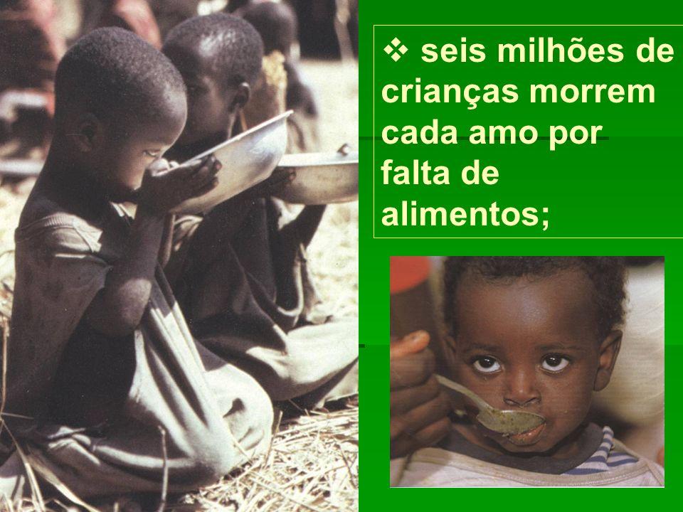seis milhões de crianças morrem cada amo por falta de alimentos;