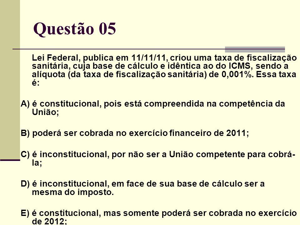 Lei Federal, publica em 11/11/11, criou uma taxa de fiscalização sanitária, cuja base de cálculo e idêntica ao do ICMS, sendo a alíquota (da taxa de fiscalização sanitária) de 0,001%.
