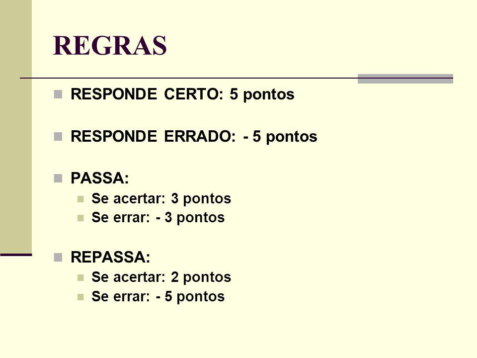 REGRAS RESPONDE CERTO: 5 pontos RESPONDE ERRADO: - 5 pontos PASSA: Se acertar: 3 pontos Se errar: - 3 pontos REPASSA: Se acertar: 2 pontos Se errar: - 5 pontos