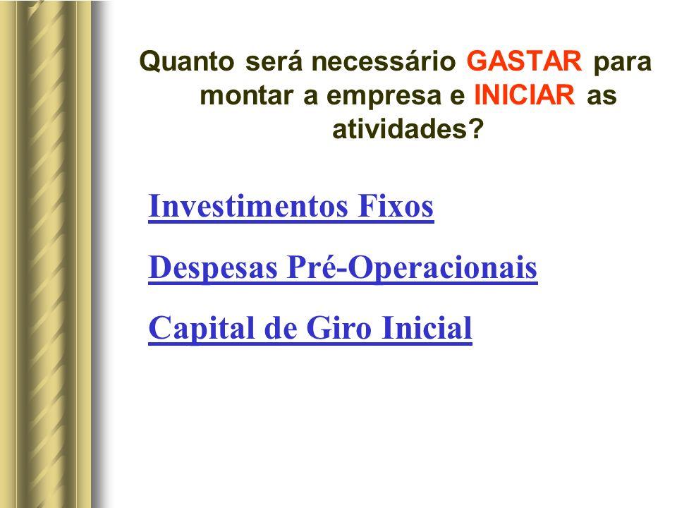 Quanto será necessário GASTAR para montar a empresa e INICIAR as atividades.