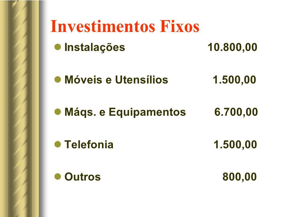 Investimentos Fixos Instalações 10.800,00 Móveis e Utensílios 1.500,00 Máqs. e Equipamentos 6.700,00 Telefonia 1.500,00 Outros 800,00