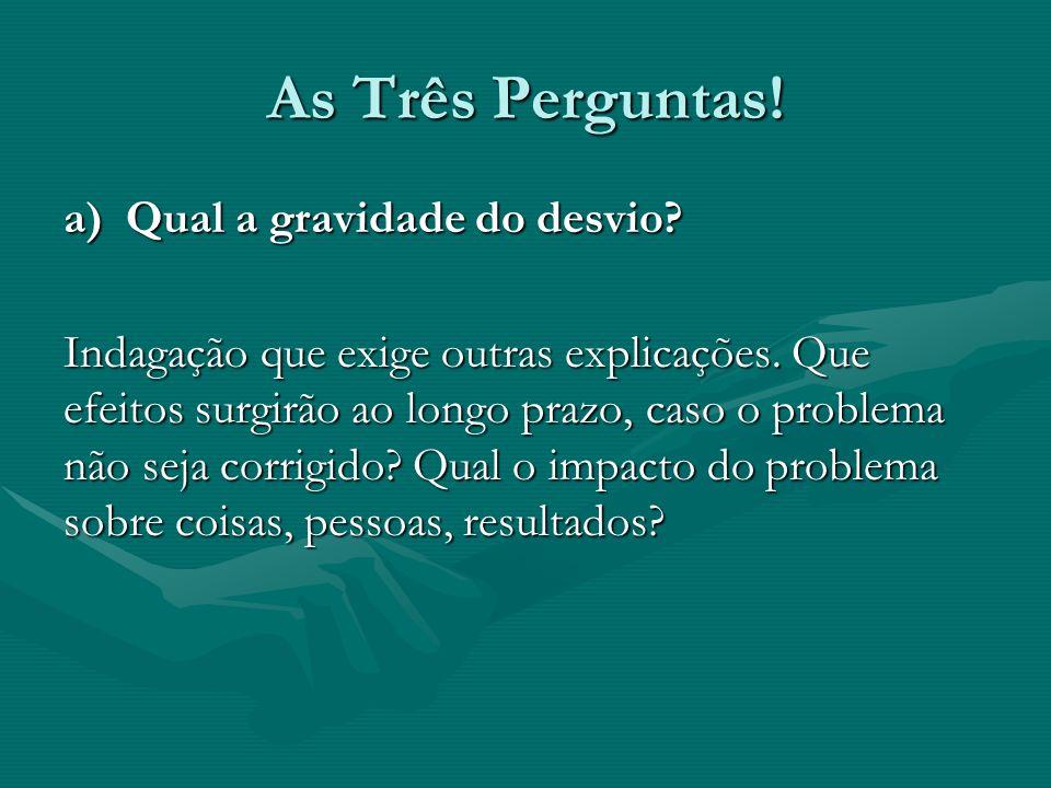 As Três Perguntas.b) Qual a urgência de se eliminar o problema.