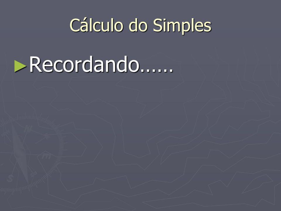 Cálculo do Simples Recordando…… Recordando……